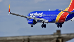 Southwest plane landing at the airport