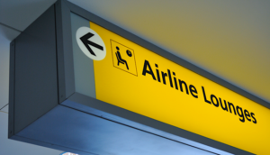 Airline Lounge sign at the airport VIP