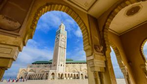 mosque in casablanca morocco with blue sky