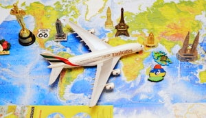 Emirates toy plane on a map of the world