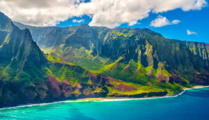 Aerial view of Na Pali coastline in Kauai Hawaii