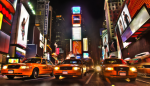 Taxis lined up in Times Square at Night