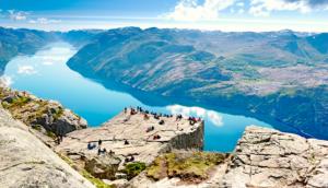 Cliff lookout near Stavanger Norway fjords