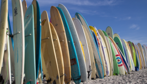 Rows of surfboards stand upright in the sands of Jacksonville Beach, Florida