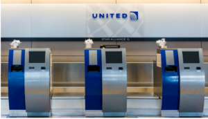United Airlines Check In Kiosks at an Airport