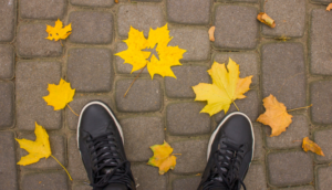 Sneakers with Airplane leaves on the ground in fall autumn