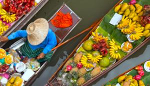 Floating market in Bangkok Thailand aerial