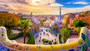 Park Guell by Gaudi in Barcelona Spain at Sunset