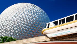 Monorail at Epcot Center at Disney in Orlando Florida