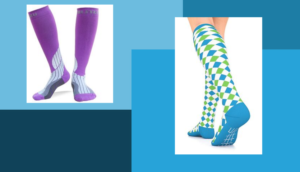 purple compression socks, green and blue argyle compression socks