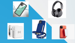 collage of various iphone 11 accessories, waterproof iphone 11 case, blue crossbody case, black wireless headphones, white charger