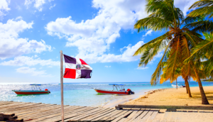 Dominican Republic Flag on the Beach near Punta Cana