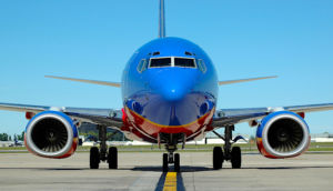 Southwest airlines airplane head on view on tarmac no logo