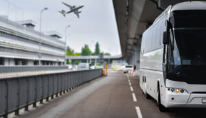 bus bringing passengers to airport to connect for a flight