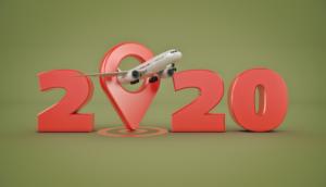 Airplane flying through the year 2020 logo