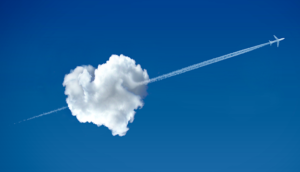heart cloud with plane flying through it love