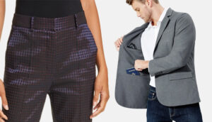 high-rise trousers and pick pocket proof blazer