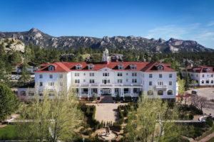Aerial view of the Stanley Hotel