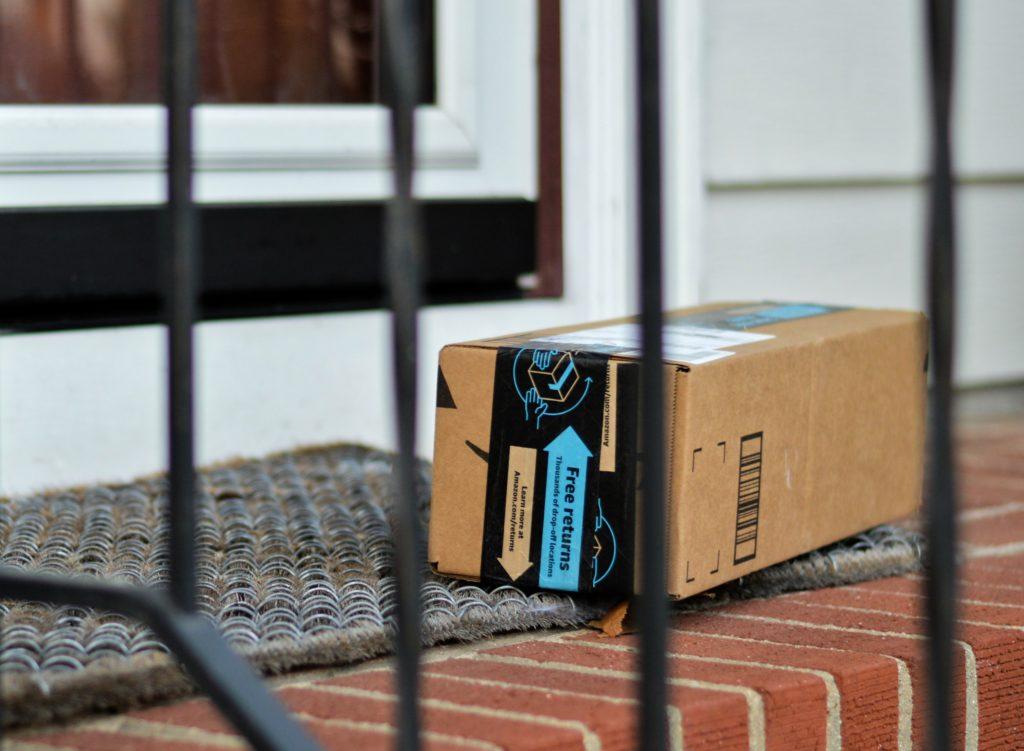 Amazon box on front porch
