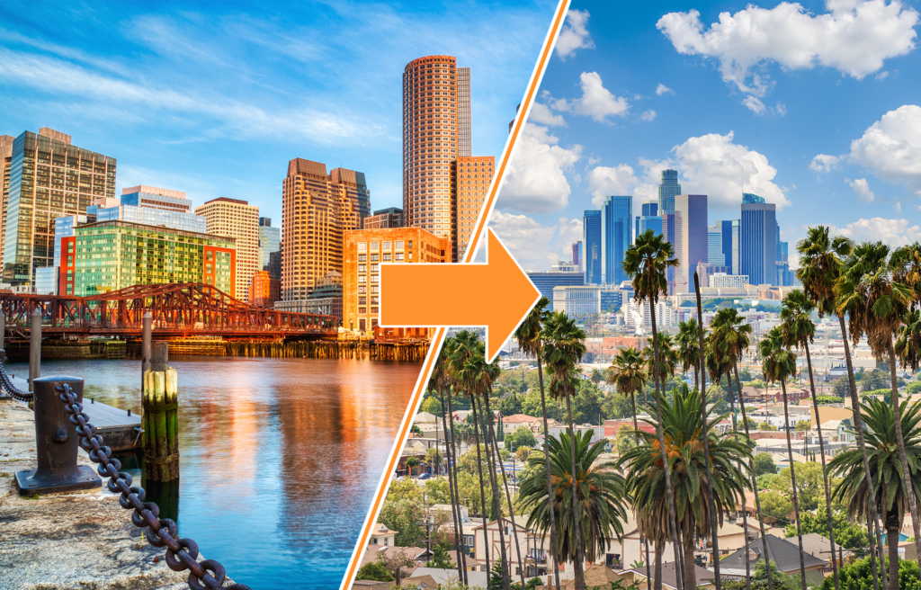 Boston, Massachusetts and Los Angeles, California