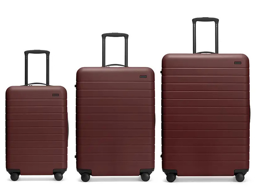 Brick colored three piece luggage set from Away