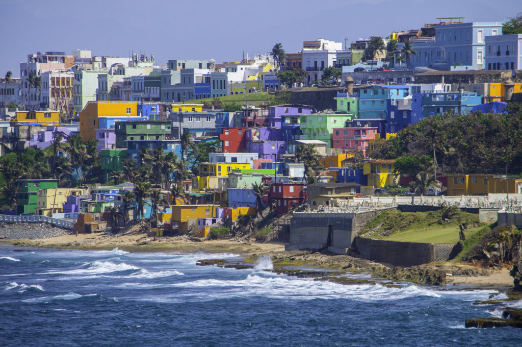Colorful houses along the shore in San Juan, Puerto Rico