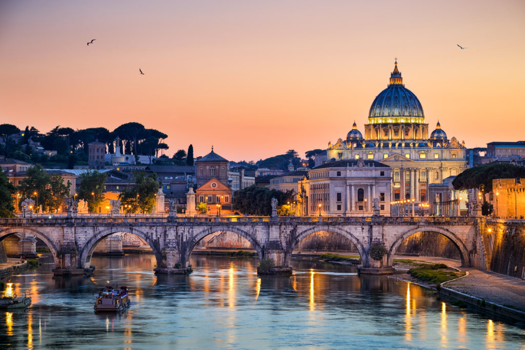 St. Peter's Basilica in Rome at sunset