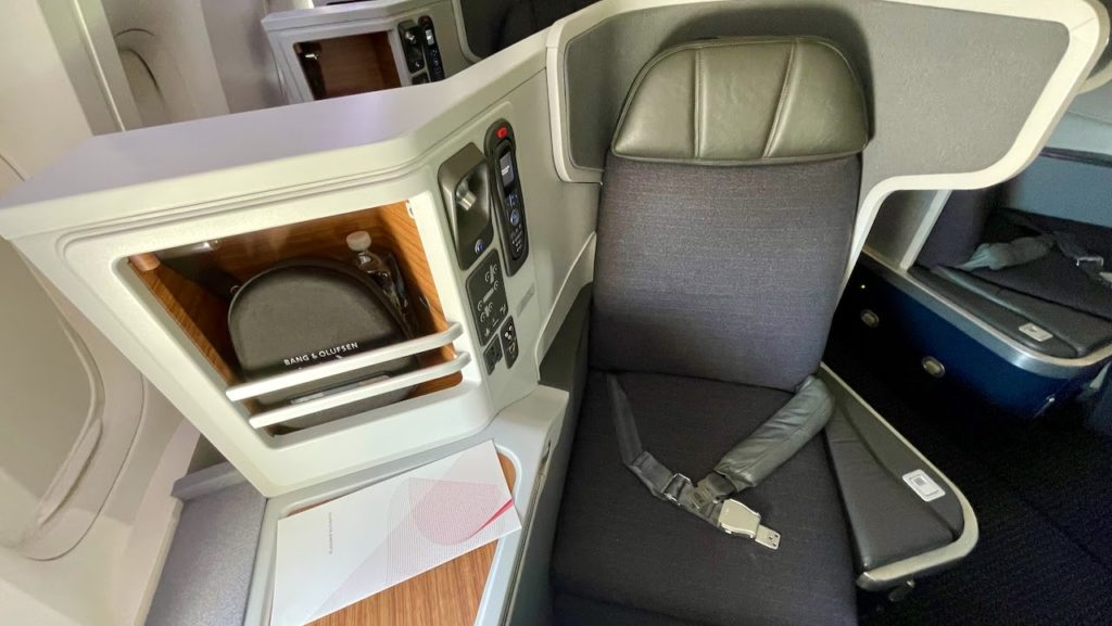 Seat in the business class cabin on American Airlines flight