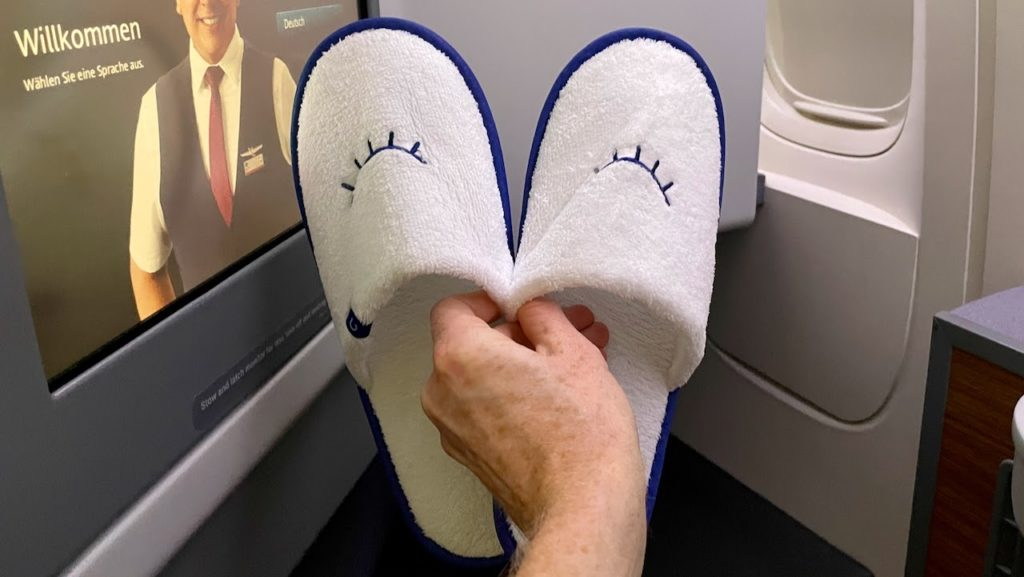 Slippers provided on American Airlines Business Class flight