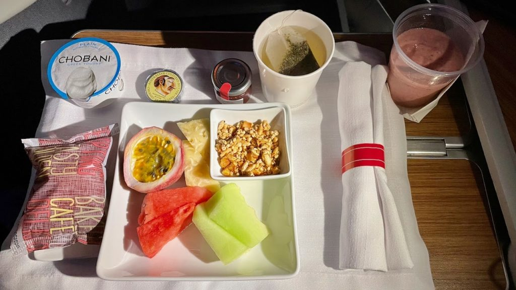 Meal served on American Airlines business class flight