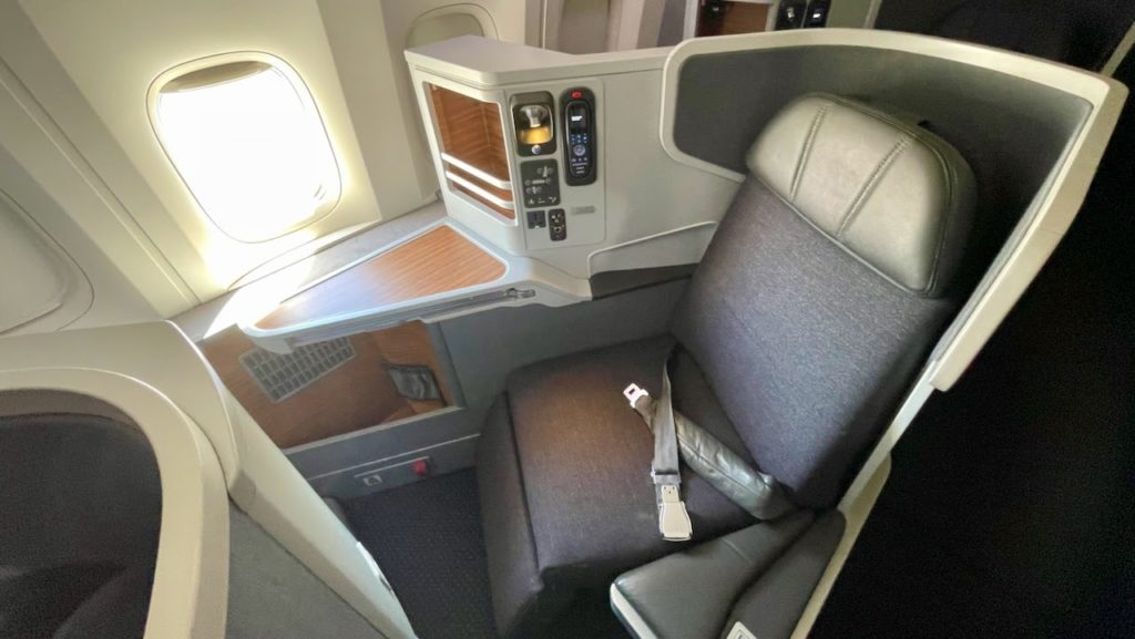 Seat in business class cabin on American Airlines flight