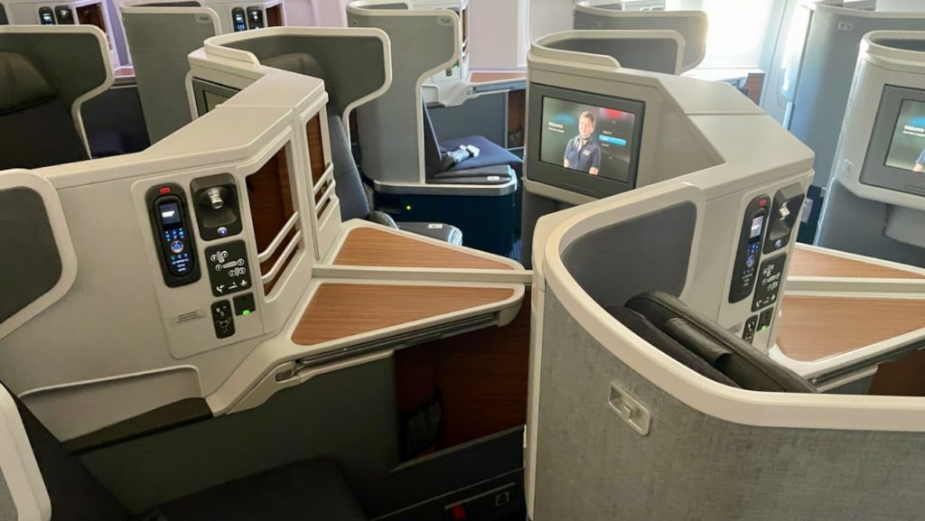 Business class cabin on American Airlines flight