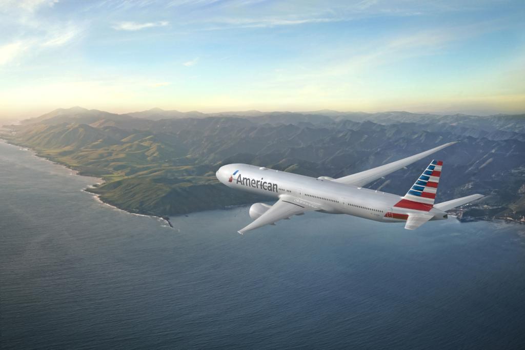American Airlines passenger plane in flight