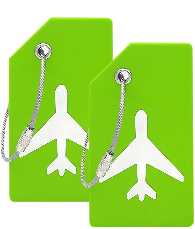 Two green luggage tags with airplanes on them
