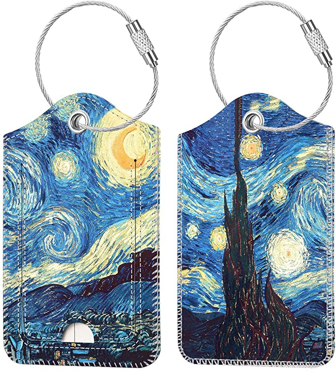 Two luggage tags with a print of Van Gogh's Starry Night on them