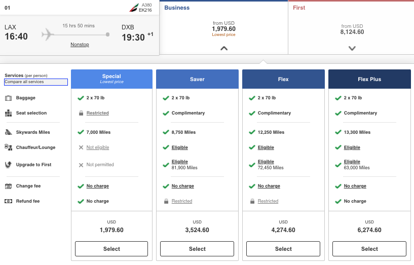 Screenshot of Special, Saver, Flex, and Flex Plus Business Class fares on airline Emirates