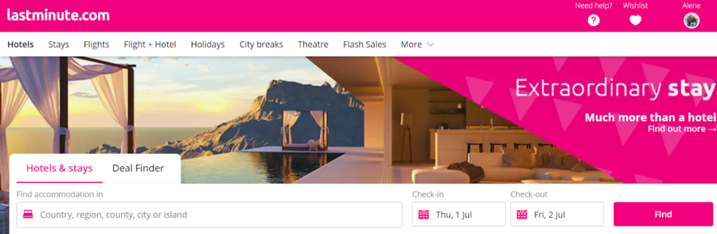 Screenshot of LastMinute.com search feature
