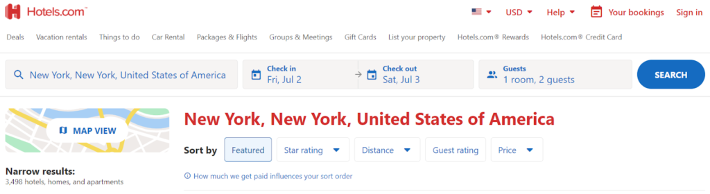 Screenshot of Hotels.com search for hotels in New York City