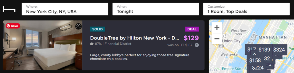 Screenshot of Hotel Tonight search for a DoubleTree hotel in New York City