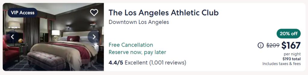 Screenshot of Expedia hotel listing