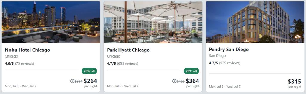 Screenshot of Travelocity last minute deals listings