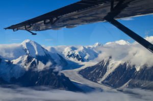 Aerial view of mountains in Alaska from a plane