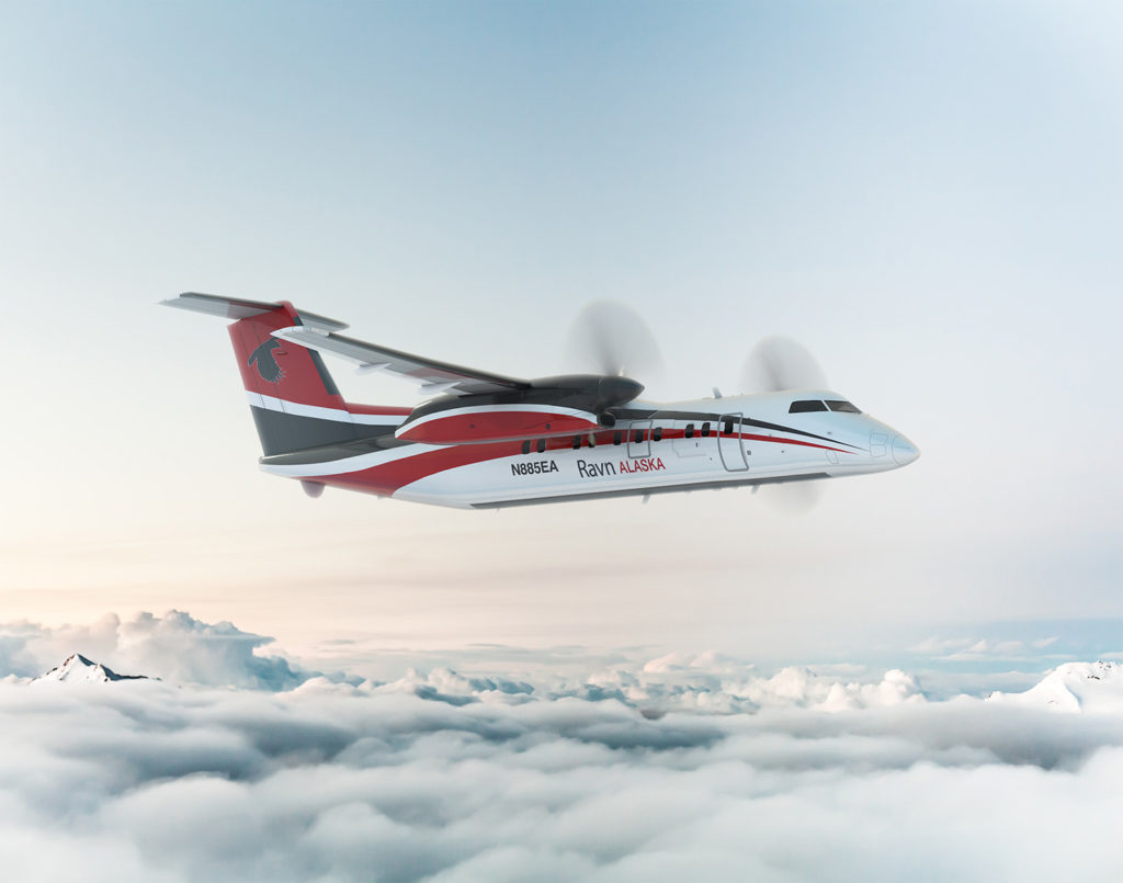 A Ravn Alaska plane in mid-flight