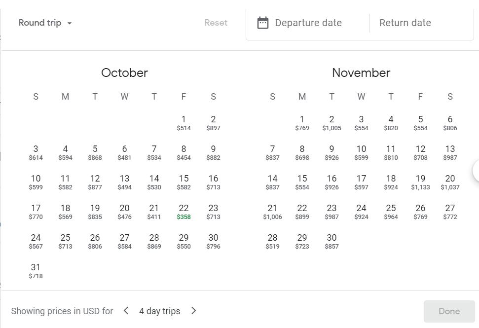 Screenshot showing Google Flights calendar
