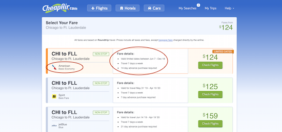 CheapAir fare list of cheap flights