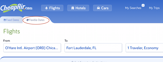 CheapAir flexible date search
