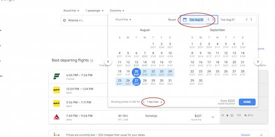 Google Flights flexible date calendar search