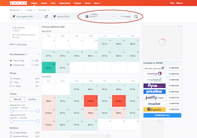 Kayak flexible date calendar for cheap flights