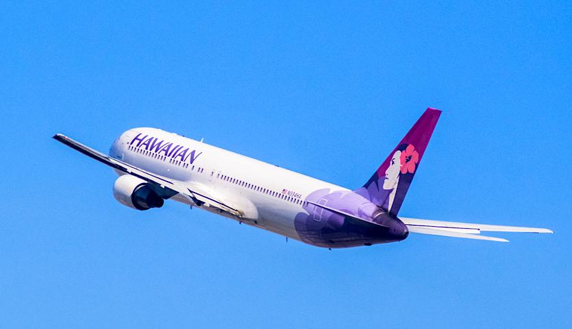 Hawaiian airlines plane taking off