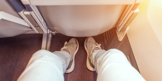lots of legroom on an airplane seat